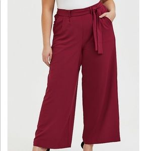 RED WINE CREPE SELF TIE WIDE LEG PANT Size 1 (16W)